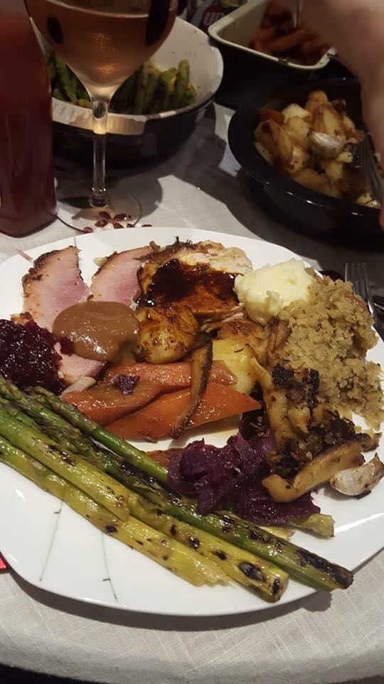 Plated turkey dinner.