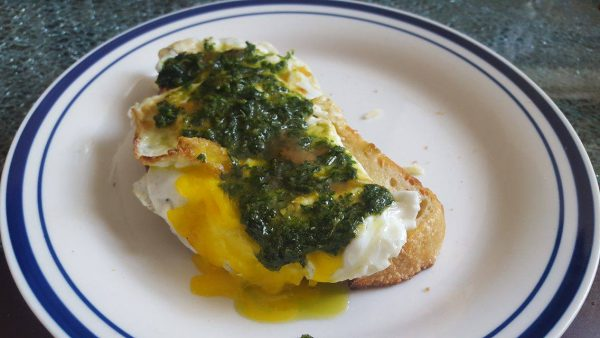 Breakfast for one: sourdough toast, fried egg, homemade pesto sauce.